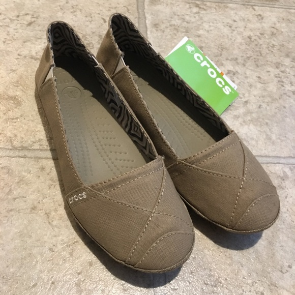 value for money promotion outlet CROCS canvas wrapped khaki angeline ballet flat 8 NWT